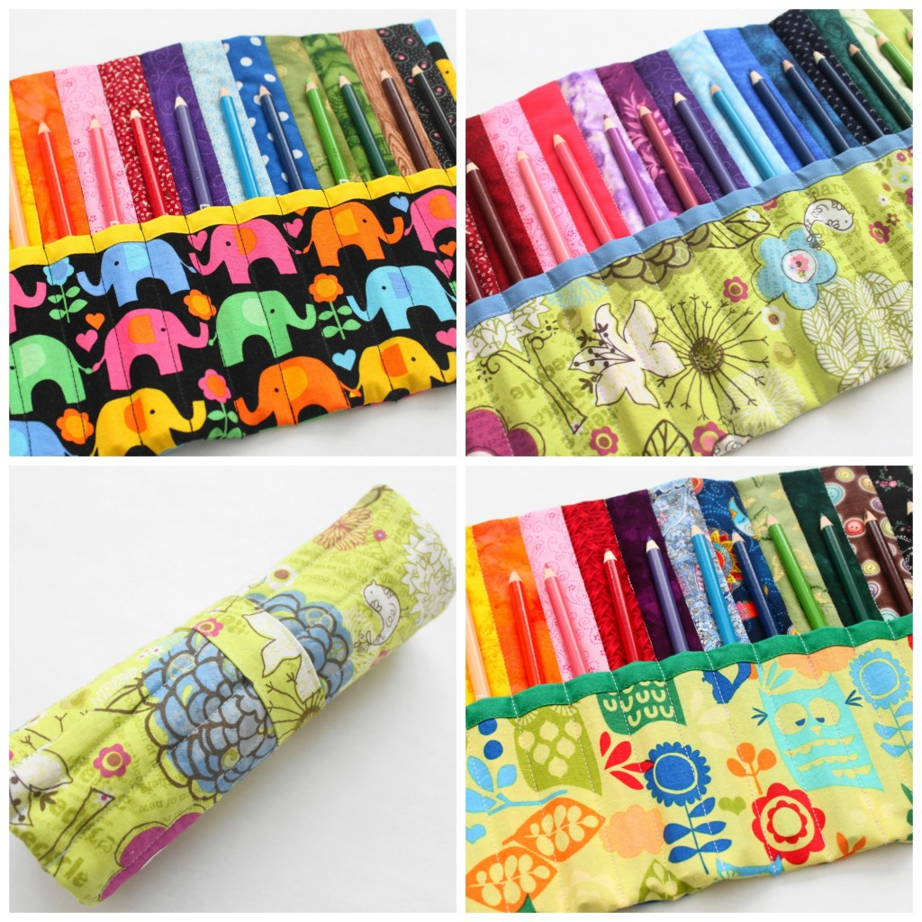 Rainbow Quilted Pencil Roll