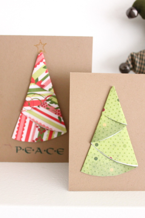 paper circle homemade christmas card how to make paper trees for scrapbooking and cards 7002