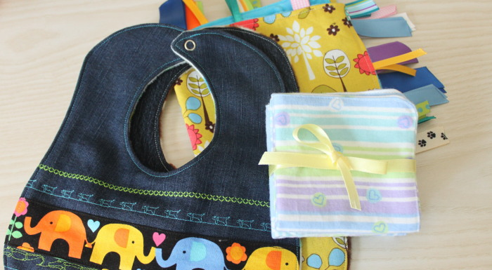 Recycled Denim Baby Bibs and other Baby Shower Sewing