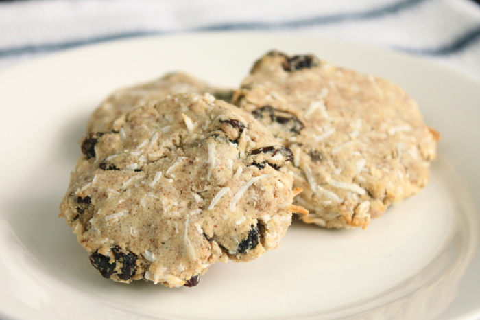 Coconut Raisin almond cookies, made with almond pulp, gluten-free, sugar-free