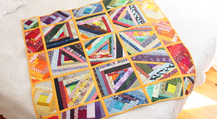 Liberated Log Cabin Rainbow Quilt, and my thoughts on quilt-as-you-go