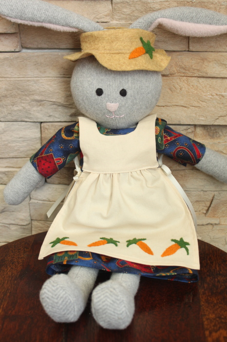 Meet Miss Carrots!  A recycled wool sweater bunny