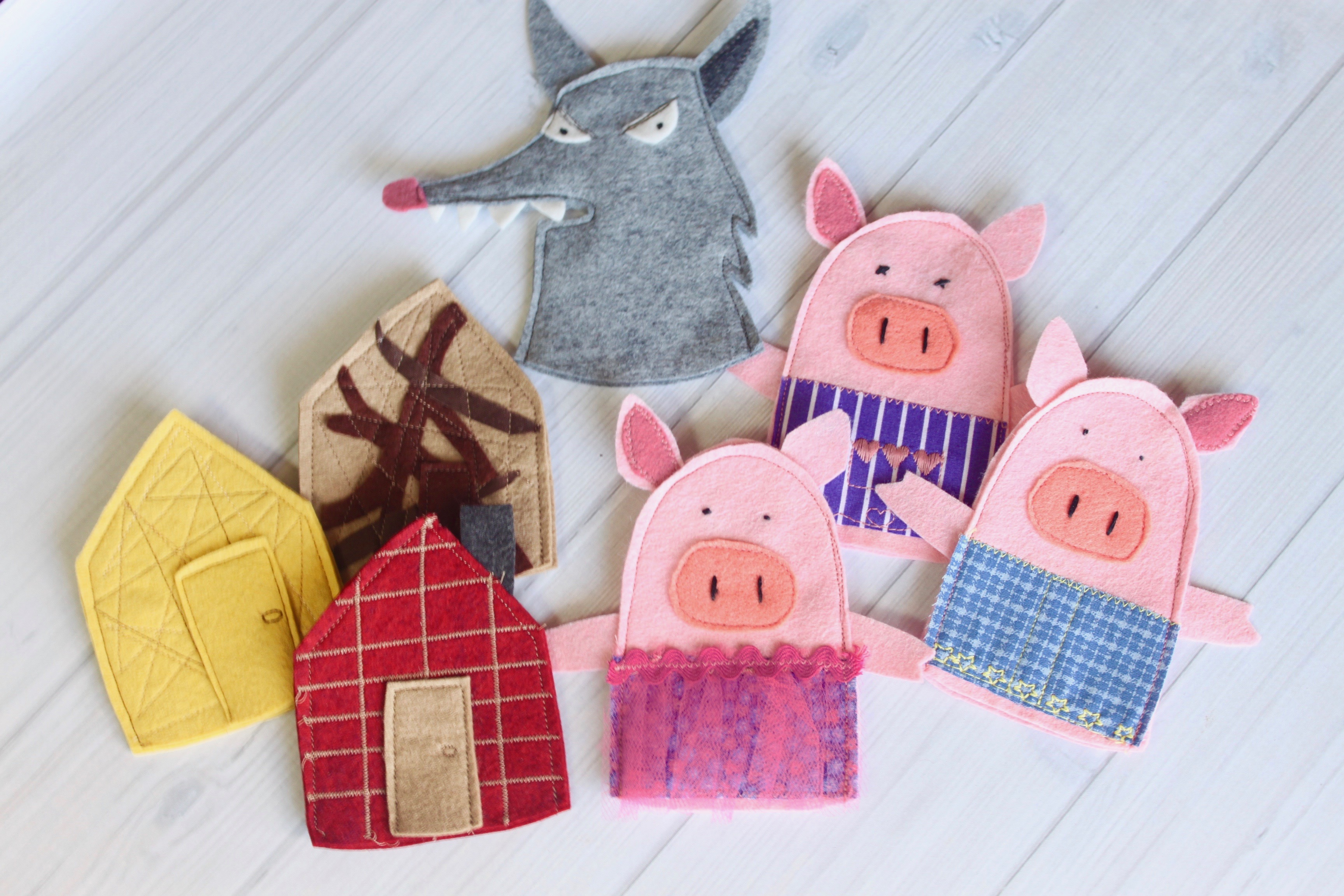 3 little pigs wool felt finger puppets artisan in the woods for The three little pigs puppet templates
